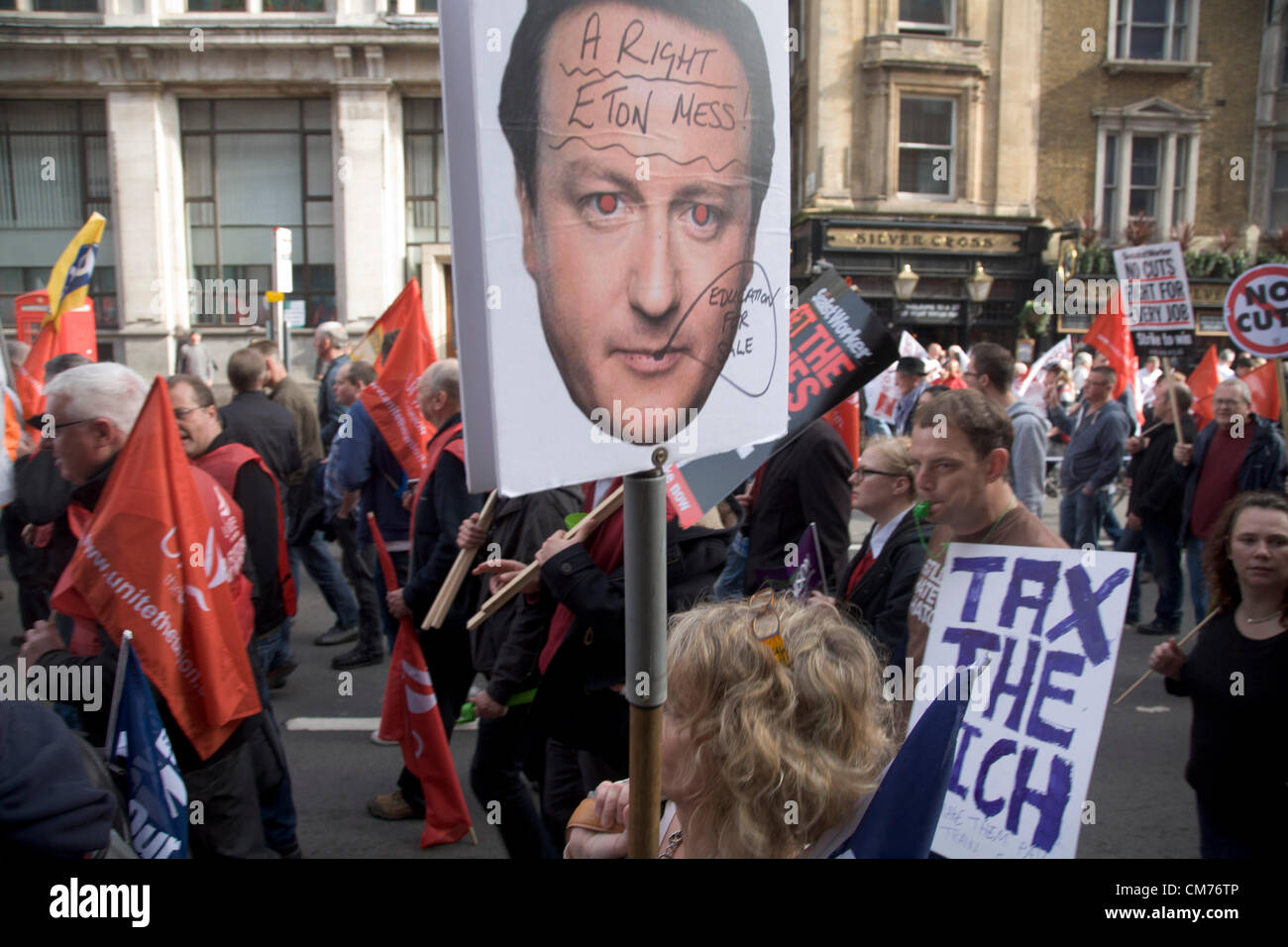 20th October 2012. London UK. Thousands of Union members and campaigners march against government austerity and - Stock Image