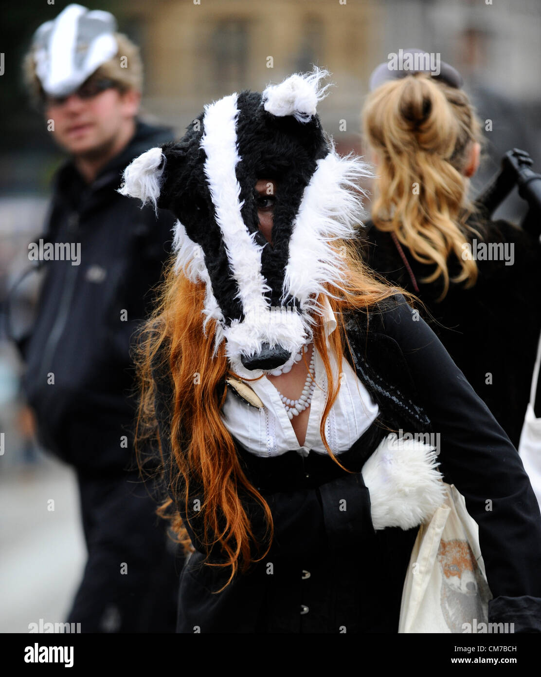 Trafalgar Square, London, UK. 21st October, 2012. Protesters dressed as badgers dance in Trafalgar Square to protest Stock Photo