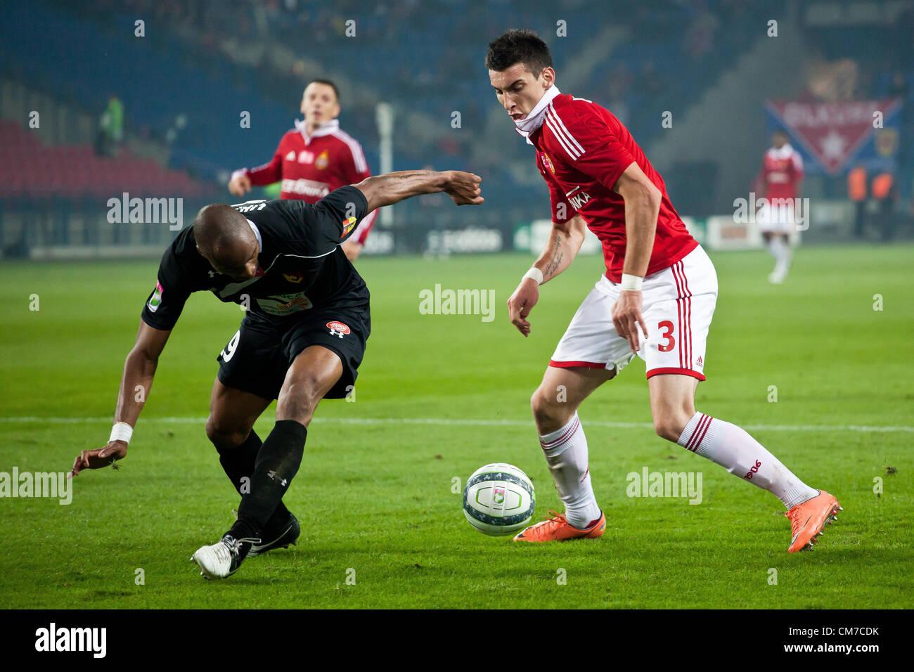 October 20, 2012 Cracow, Poland - Eighth round of Polish Football Extraleague. (L) Ugochukwu Ukah and (R) Gordan - Stock Image