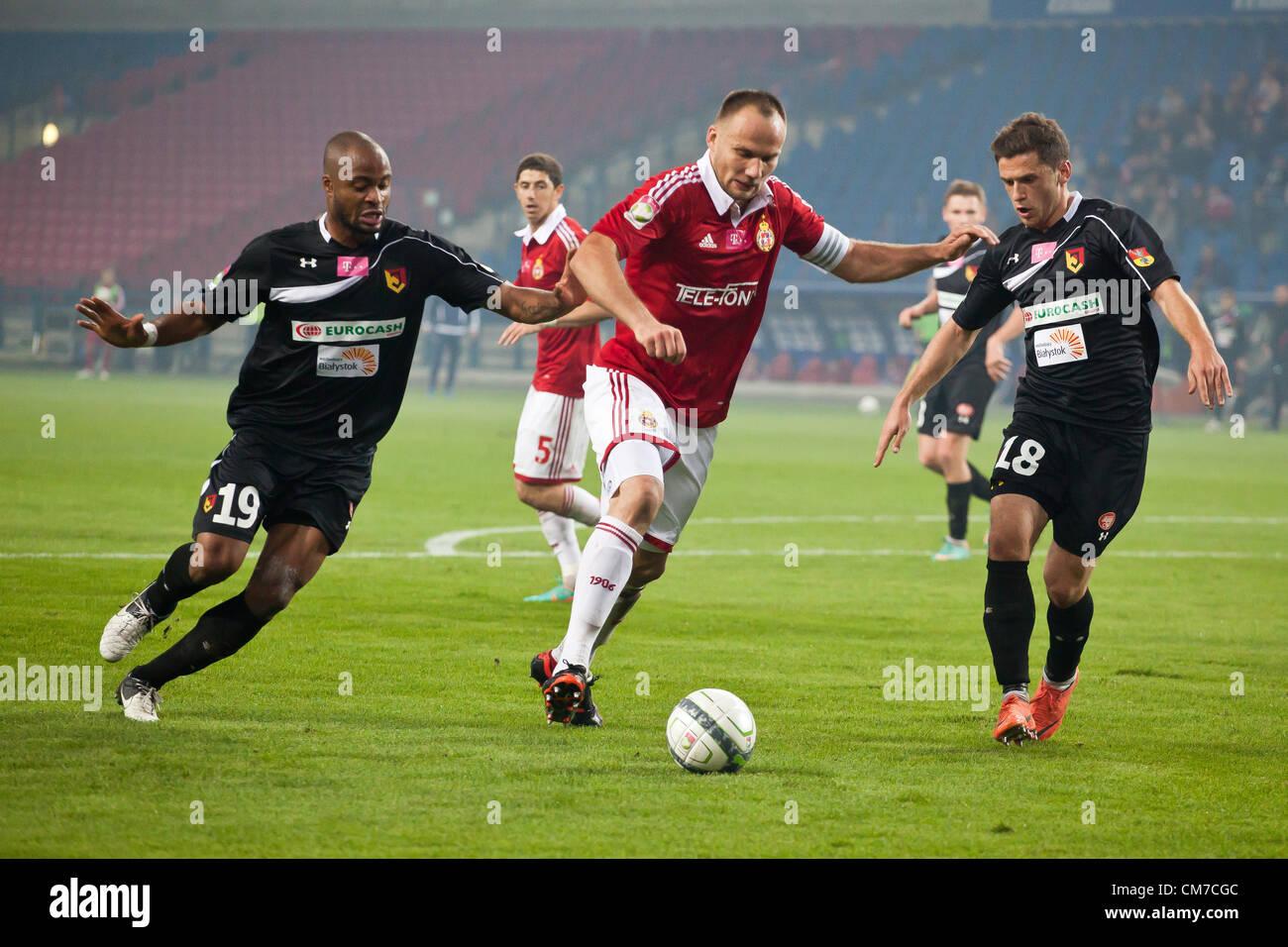 October 20, 2012 Cracow, Poland - Eighth round of Polish Football Extraleague. (L) Ugochukwu Ukah, (C) Arkadiusz - Stock Image