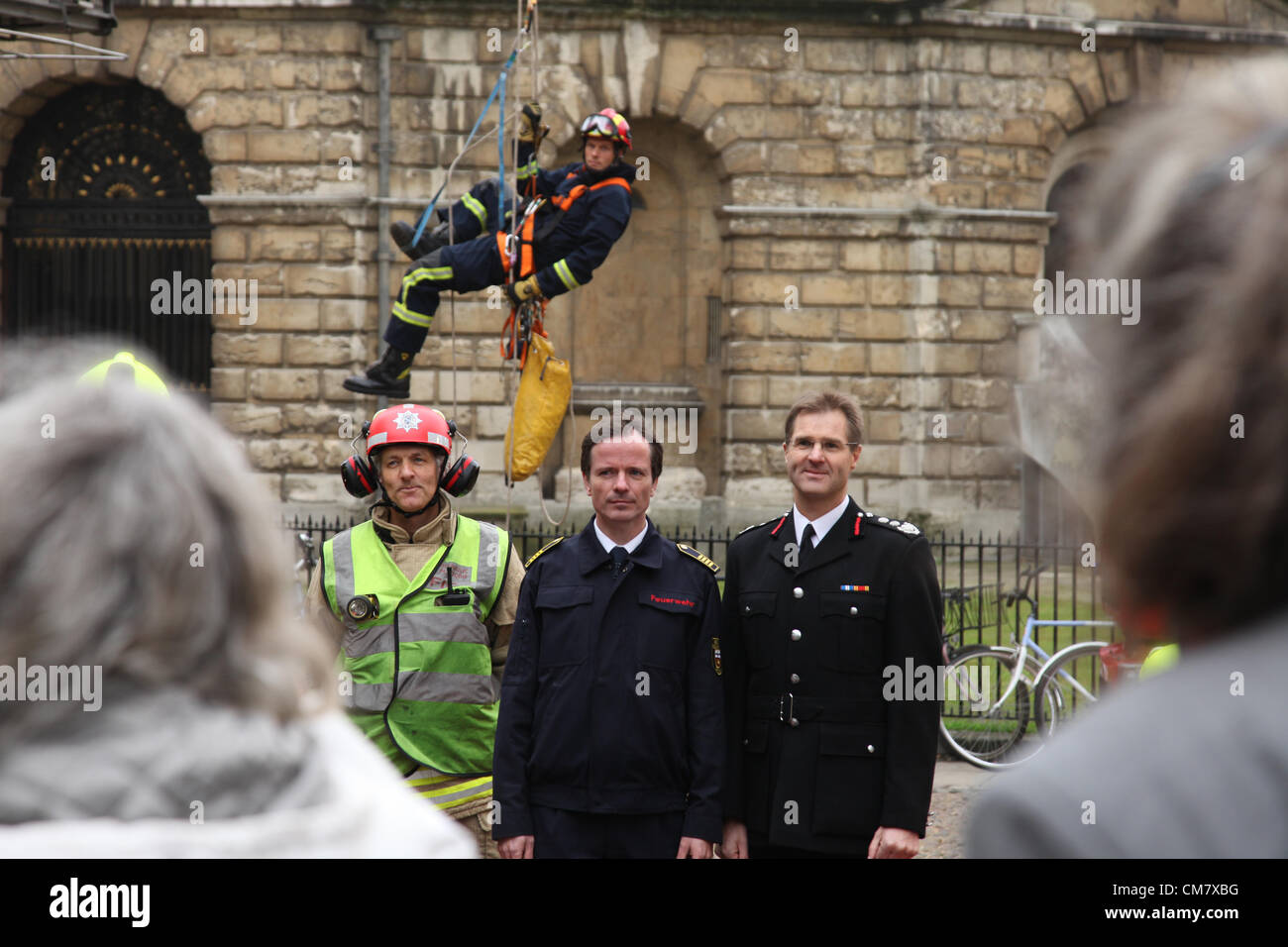 Oxford, UK. 24th October 2012. Chief fire officer David Etheridge meets his counterpart from Bonn;. The meeting - Stock Image