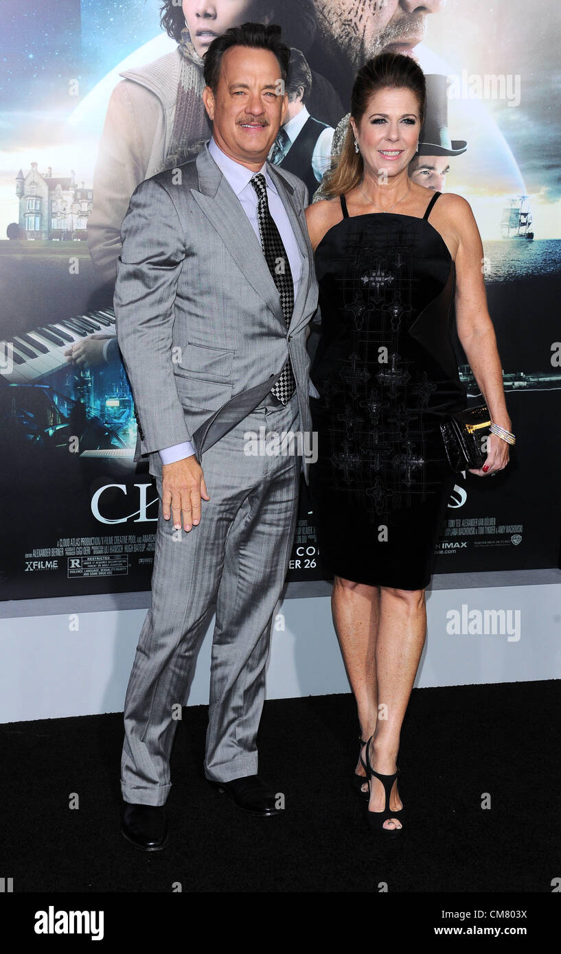 Los Angeles, USA. 24th October 2012. Tom Hanks and Rita Wilson arriving at the film premiere of 'Cloud Atlas' - Stock Image
