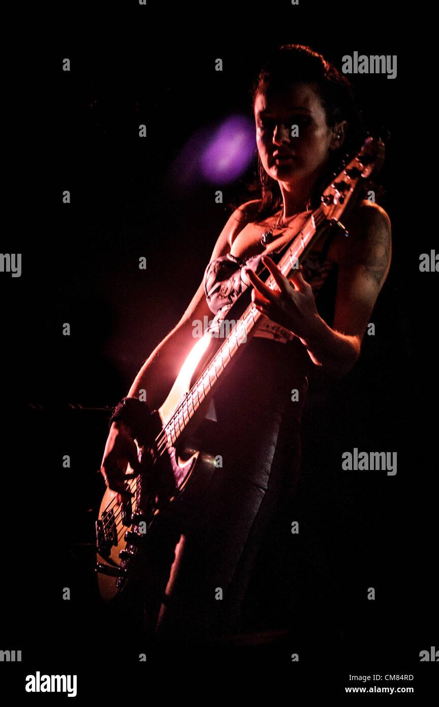 Oct. 25, 2012 - Toronto, Ontario, Canada - Bassist of American alternative rock band Smashing Pumpkins NICOLE FIORENTINO - Stock Image