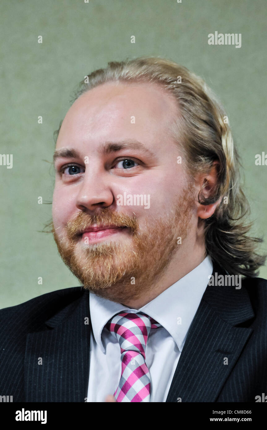 27th October 2012, Belfast.  Party Leader, Steven Agnew, at the  Green Party (Northern Ireland)  annual conference - Stock Image