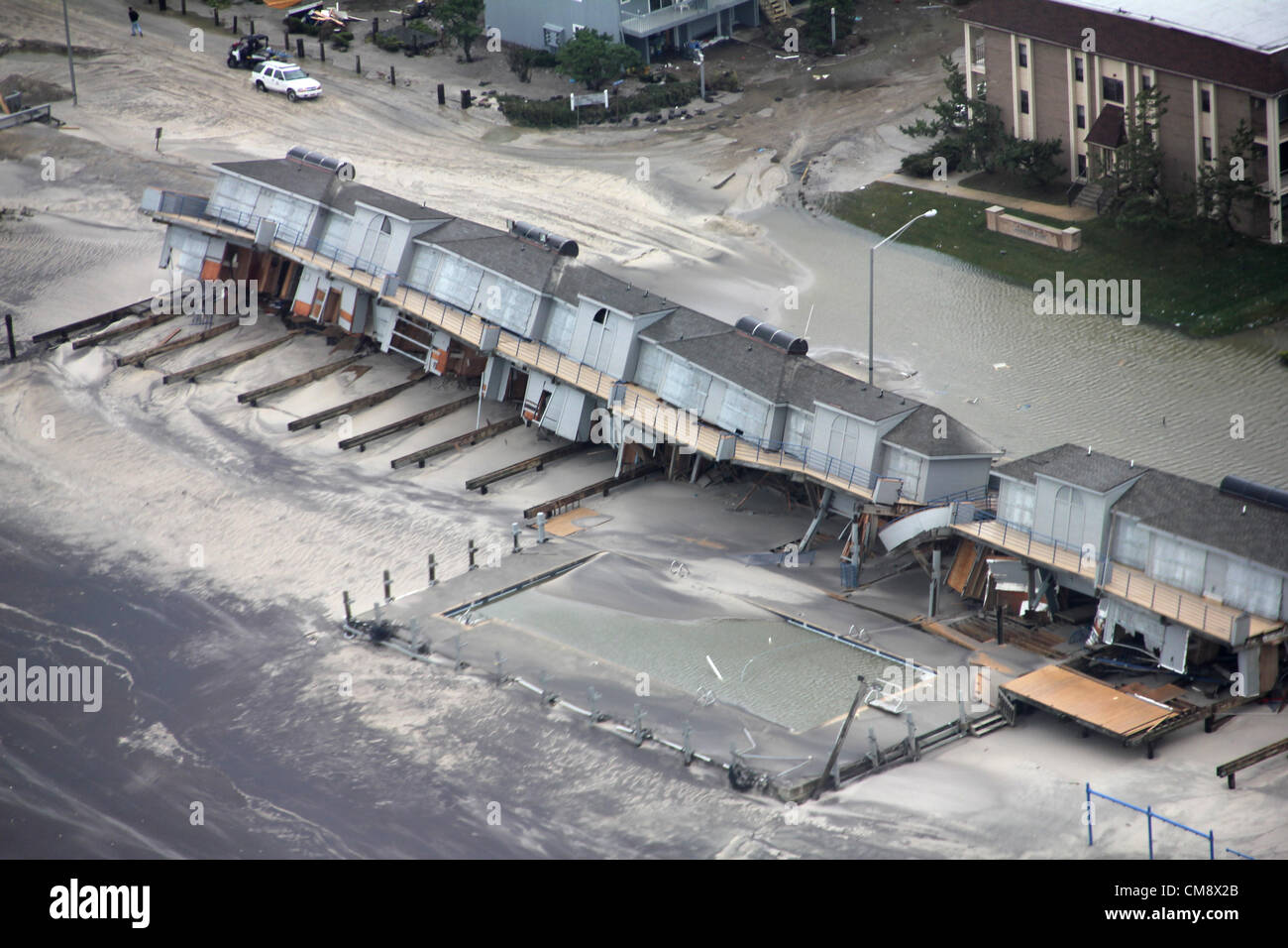 New Jersey, Usa. 30th October 2012. Aerial view of property damage along the New Jersey coast caused by Hurricane - Stock Image