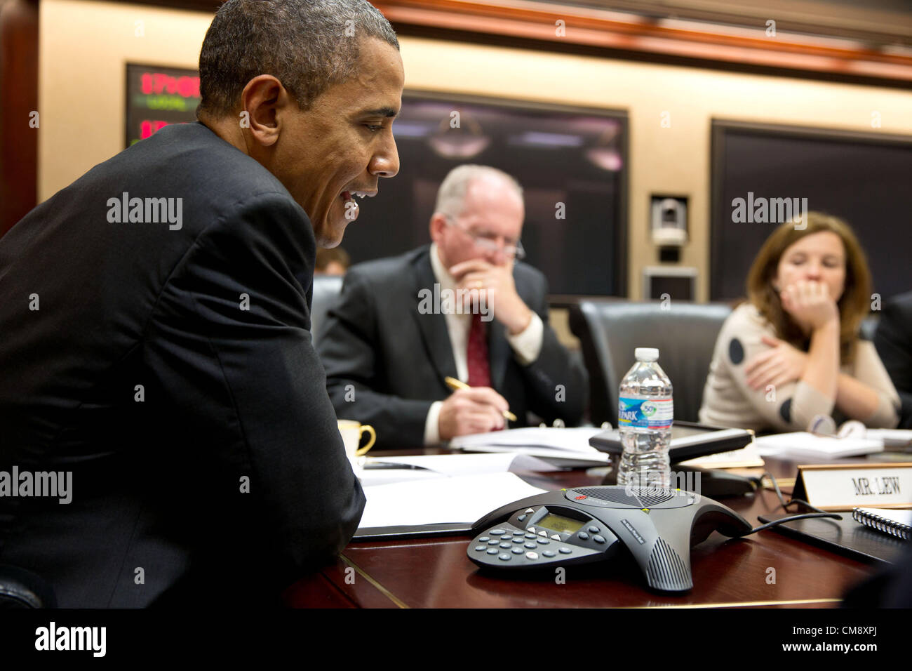 President Barack Obama participates in a conference call with electric utility executives to discuss the restoration - Stock Image