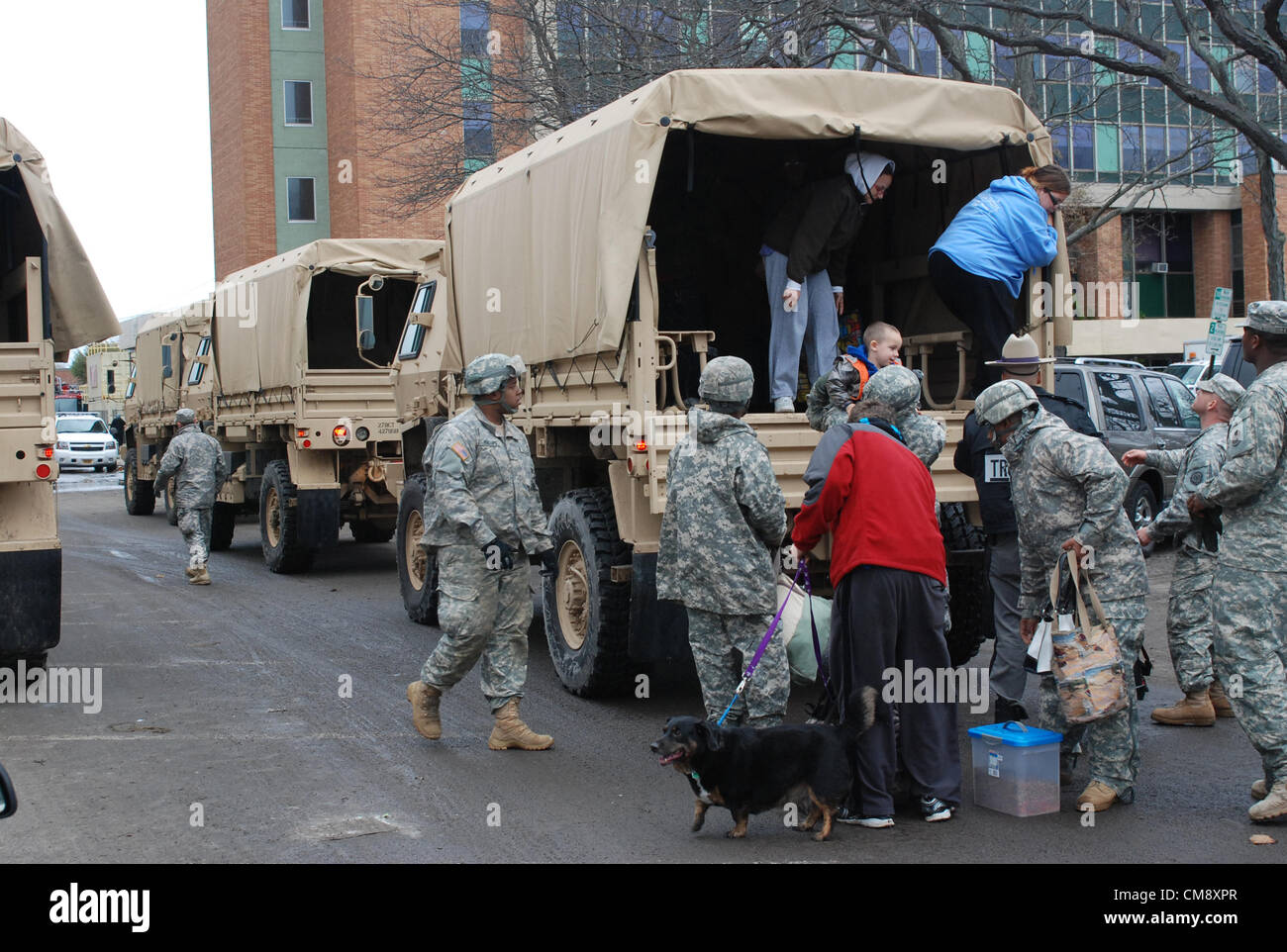 LONG BEACH, N.Y. – New York Army National Guard Soldiers from Company F, 427th Brigade Support Battalion assist - Stock Image