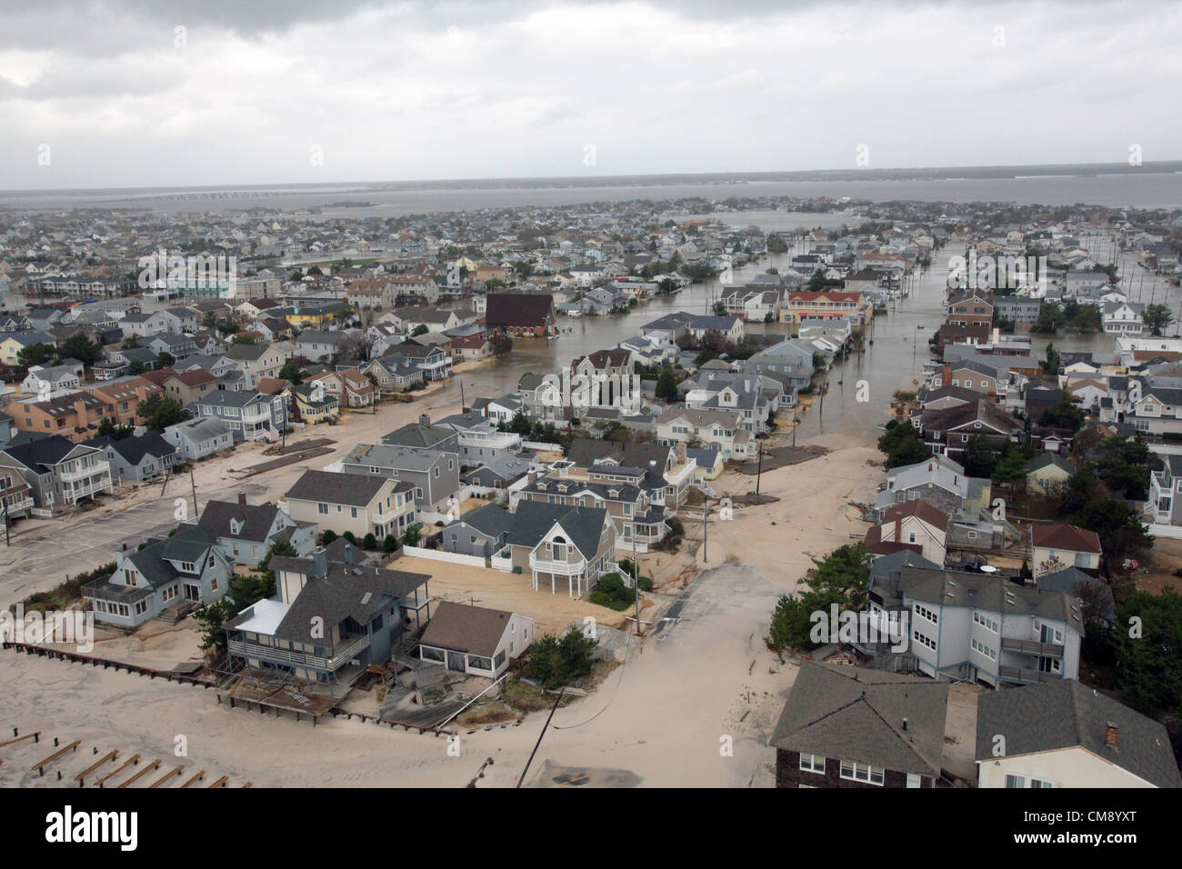 Aerial views of the damage caused by Hurricane Sandy to the New Jersey coast taken during a search and rescue mission - Stock Image