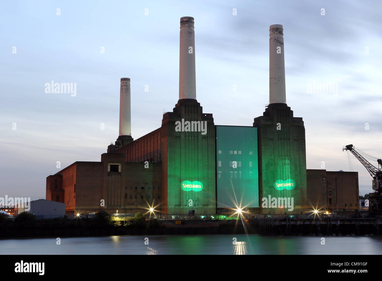Battersea Power Station was iluminated for the Specsavers Spectacle Wearer of the Year Awards 2012. Stock Photo