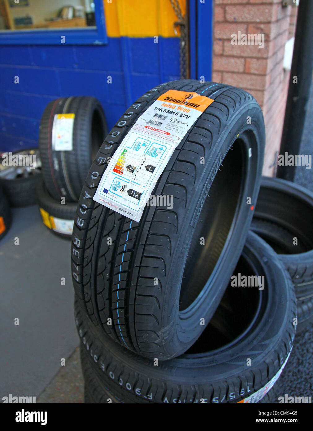 On 1 November 2012, new European tyre labelling regulations came into force that could make driving safer, more - Stock Image