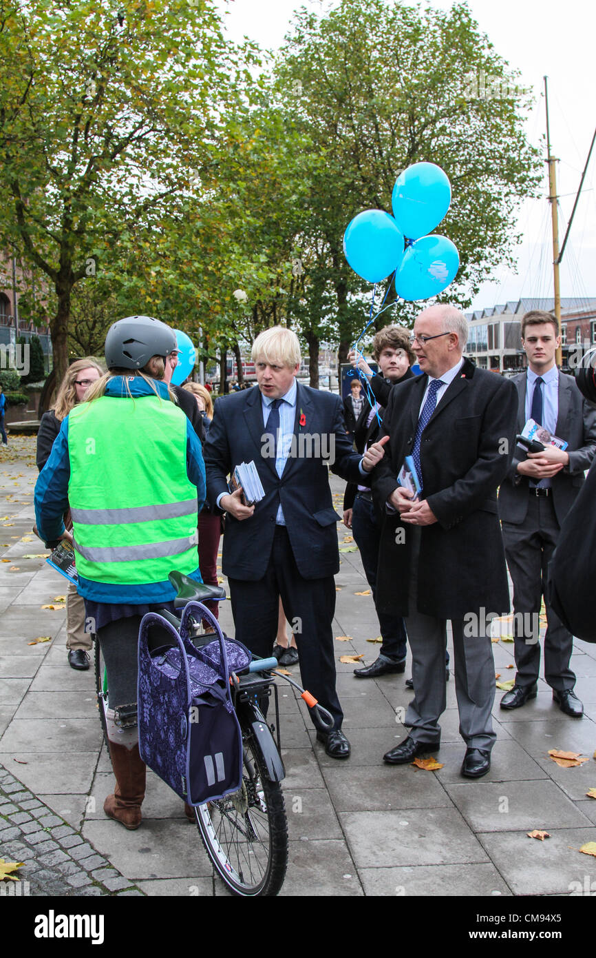 Bristol, UK. 31st October 2012. London mayor, Boris Johnson, visits Bristol to offer his support to both the Tory - Stock Image