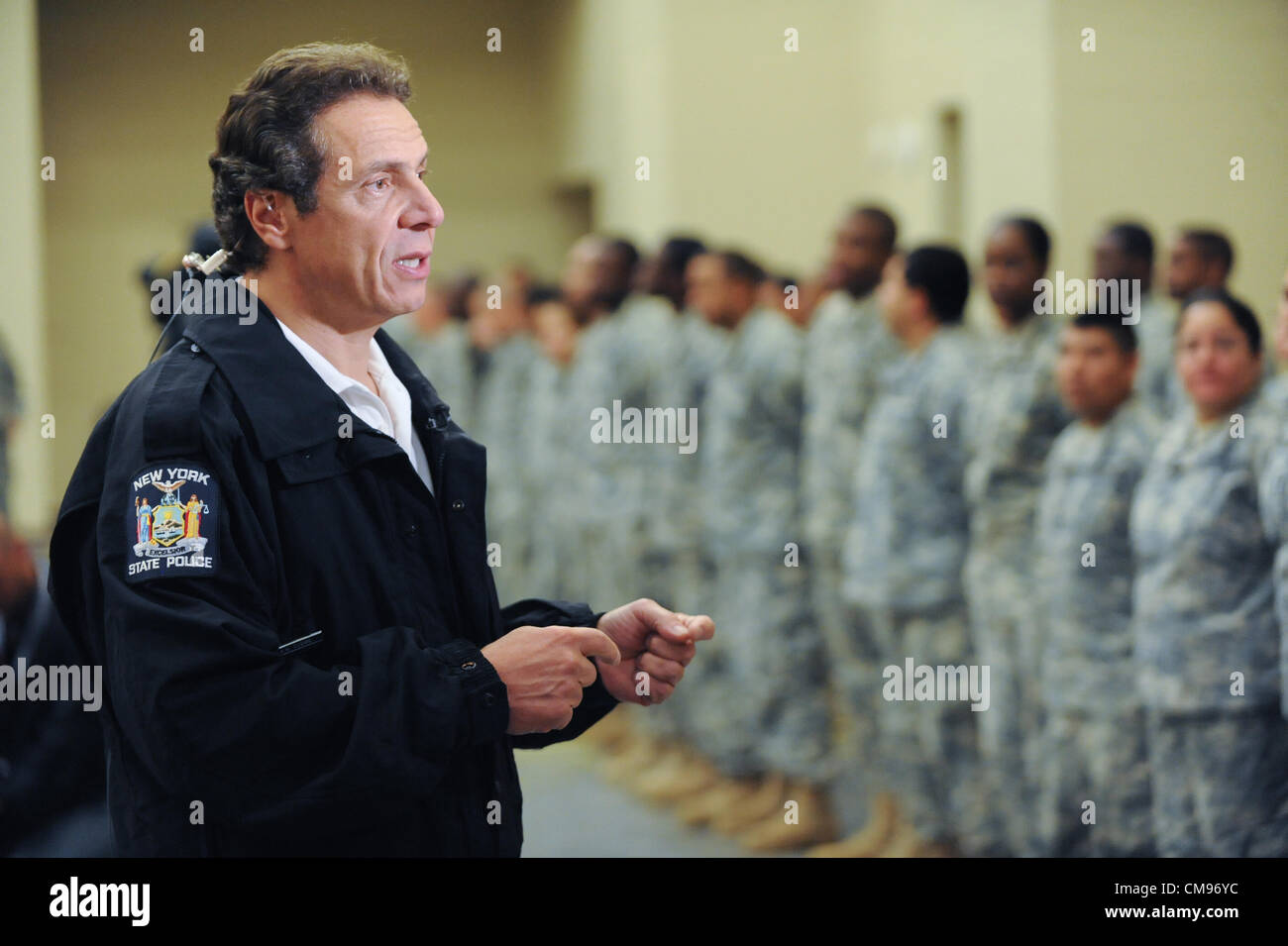 New York Governor Andrew Cuomo speaks to National Guard members in preparation for landfall of Hurricane Sandy October - Stock Image
