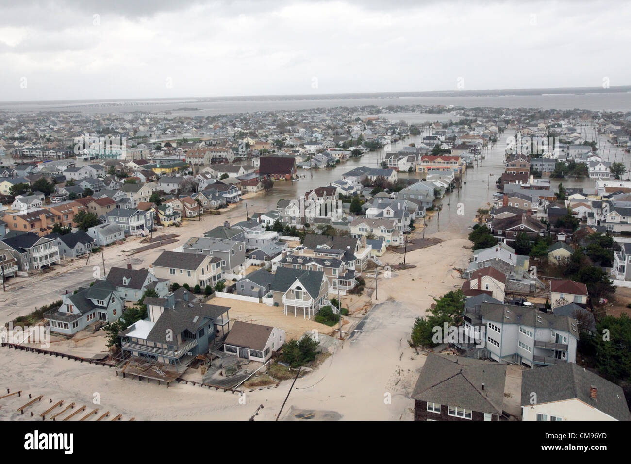 Aerial views of the damage caused by Hurricane Sandy to the New Jersey October 30, 2012. - Stock Image
