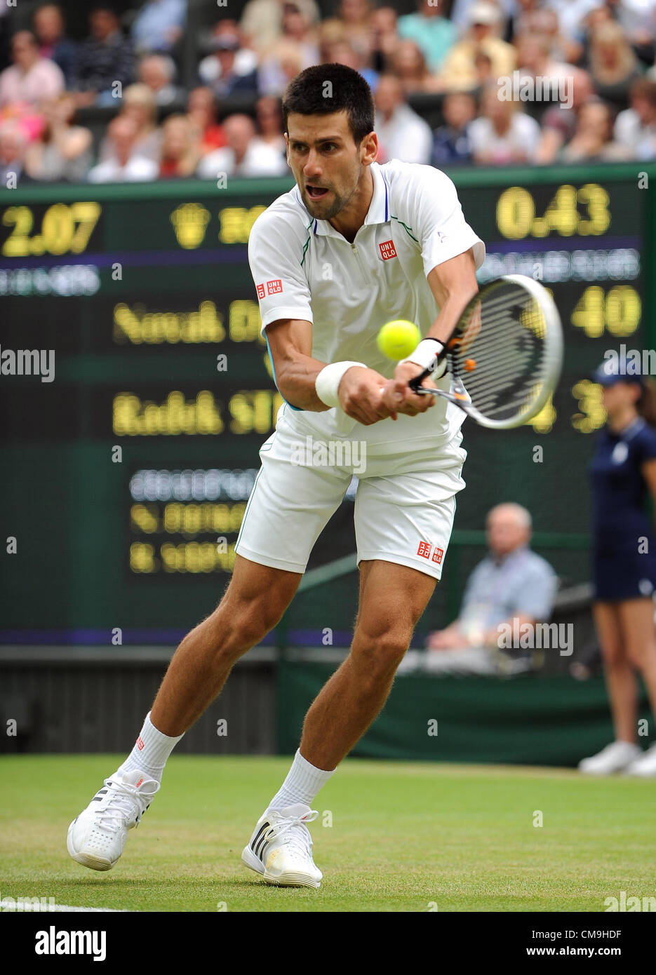 NOVAK DJOKOVIC SERBIA THE ALL ENGLAND TENNIS CLUB WIMBLEDON LONDON ENGLAND 29 June 2012 - Stock Image
