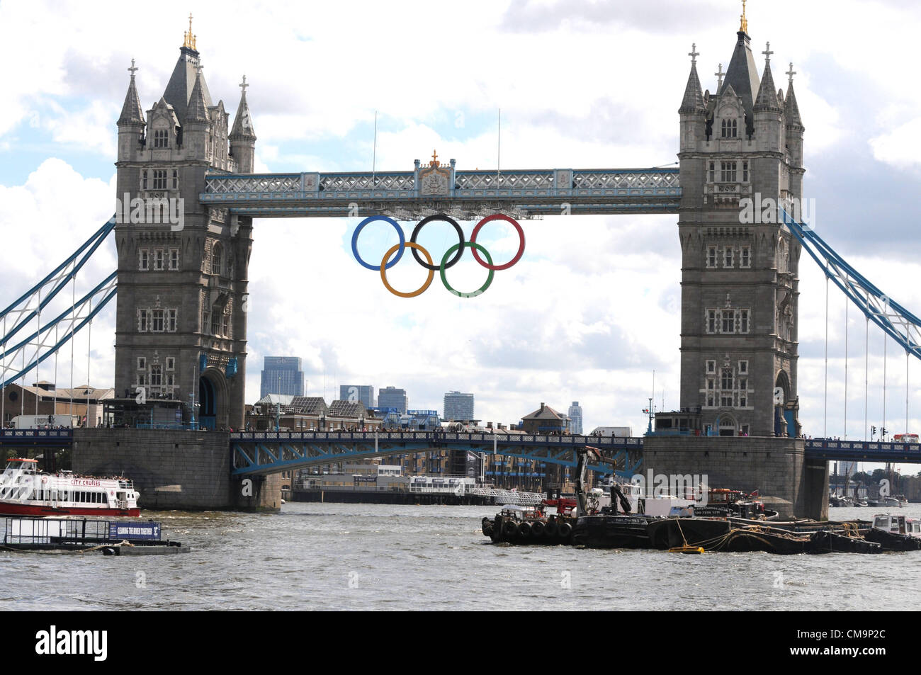 London Giant Olympic Rings Now Hang From London Bridge As The 2012 Stock Photo Alamy