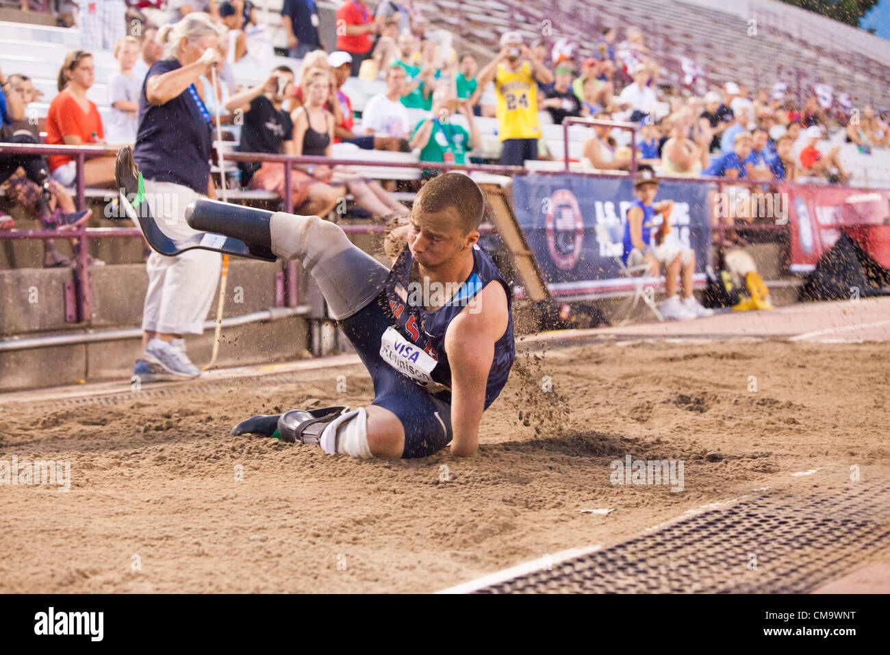 Indianapolis, IN, USA, June 30, 2012.  Joshua Kennison, a quadruple amputee, competes in the long jump at the 2012 - Stock Image