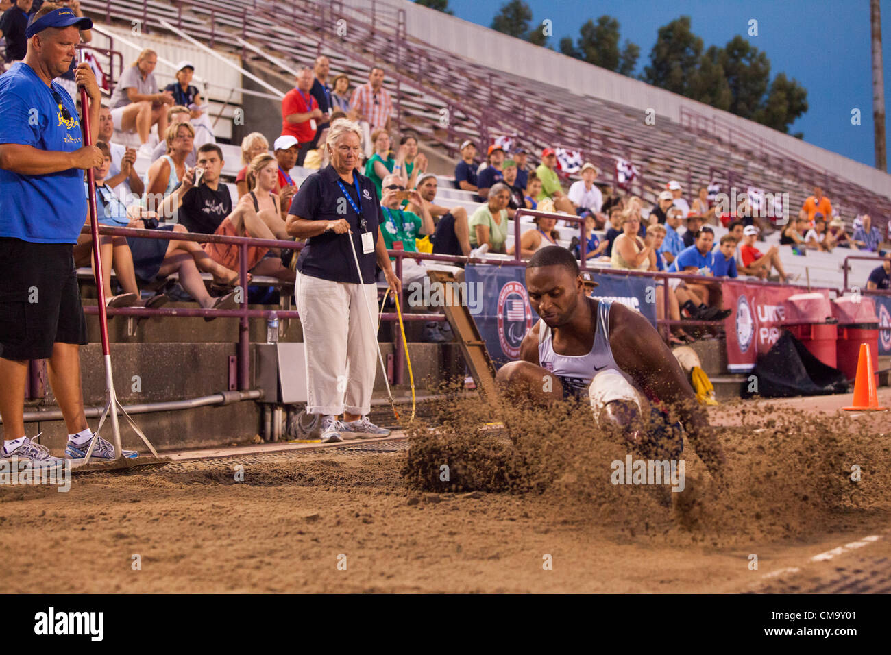 Indianapolis, IN, USA, 30 June 2012.  Hurie Johnson, a single-leg amputee, completes a long jump at the U.S. Paralympic - Stock Image