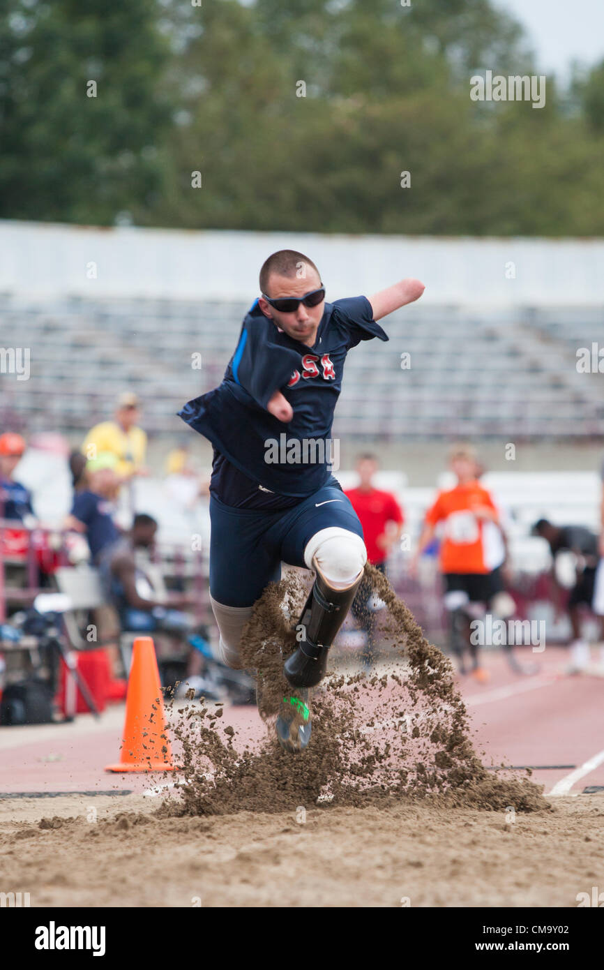 Indianapolis, IN, USA, 30 June 2012.  Joshua Kennison, a quadruple amputee, practices his long jump at the U.S. - Stock Image