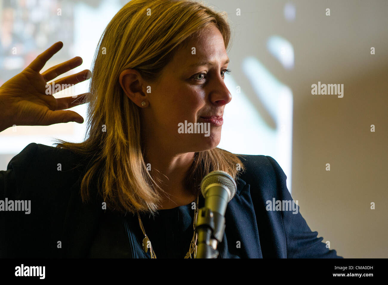 Lucy Christopher, writer, author of 'Stolen' speaking at the first Gwyl Dinefwr Literature Festival, Newton - Stock Image