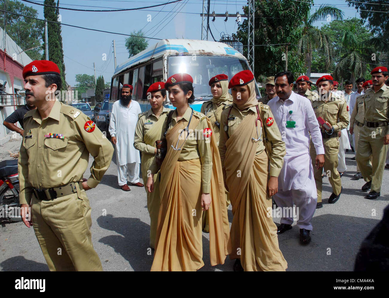 Pakistan Army doctors arrive to look after the patients at