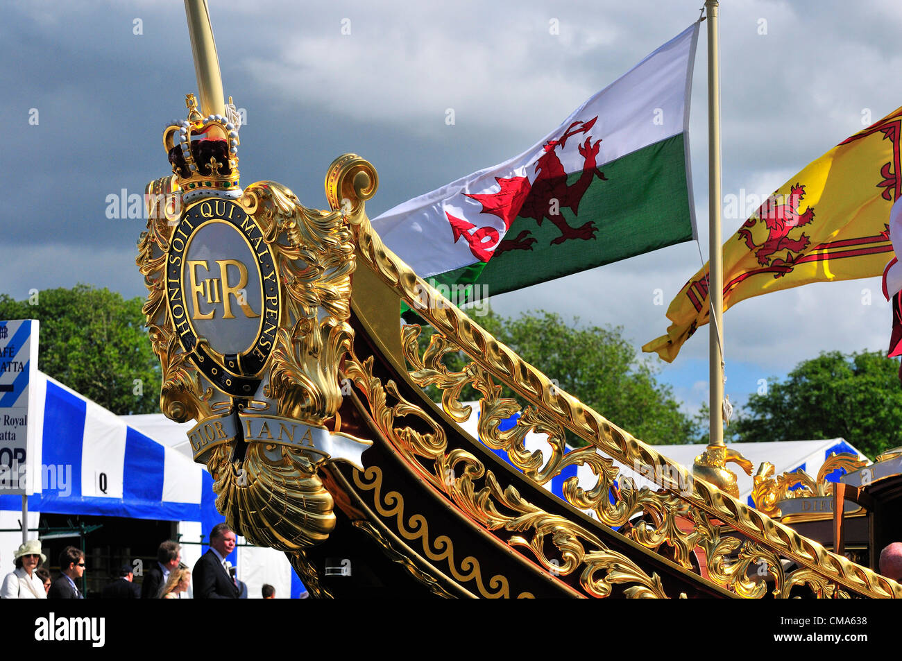 the royal barge Gloriana, moored at Henley on Thames during the Henley Royal Regatta July 1 2012 Over 170 of Great - Stock Image