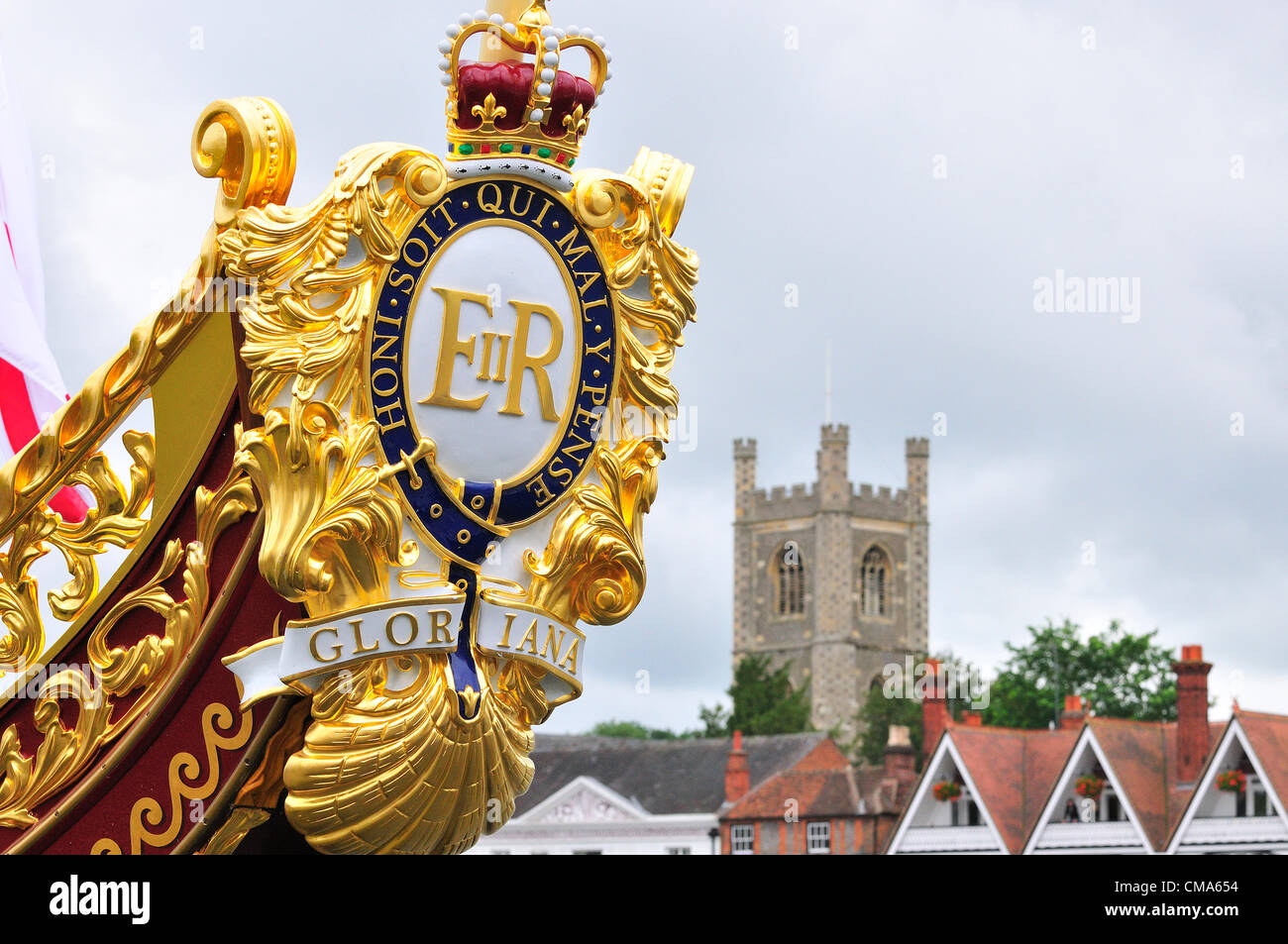 the royal barge Gloriana, moored at Henley on Thames during the Henley Royal Regatta 2012/  iOver 170 of Great Britain's - Stock Image