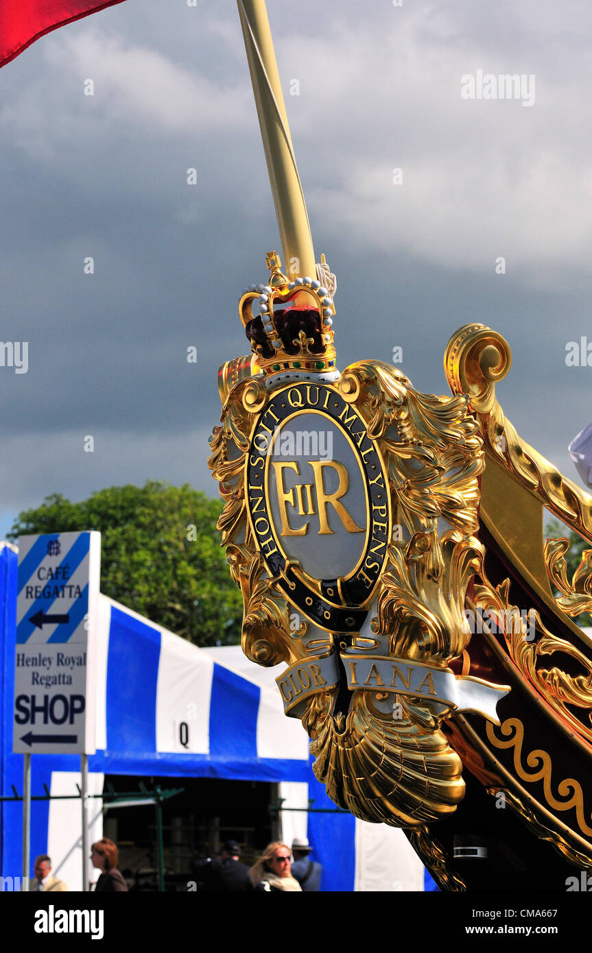 the royal barge Gloriana, moored at Henley on Thames during the Henley Royal Regatta 2012 Over 170 of Great Britain's - Stock Image