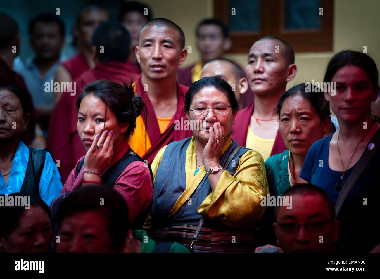 July 6, 2012 - Kathmandu, Kathmandu, Nepal - Tibetan refugees gather to celebrate Dalai Lama's birthday on the grounds Stock Photo
