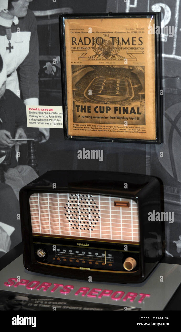 Radio broadcast history display at the National Football Museum in Manchester, Britain, UK, - Stock Image