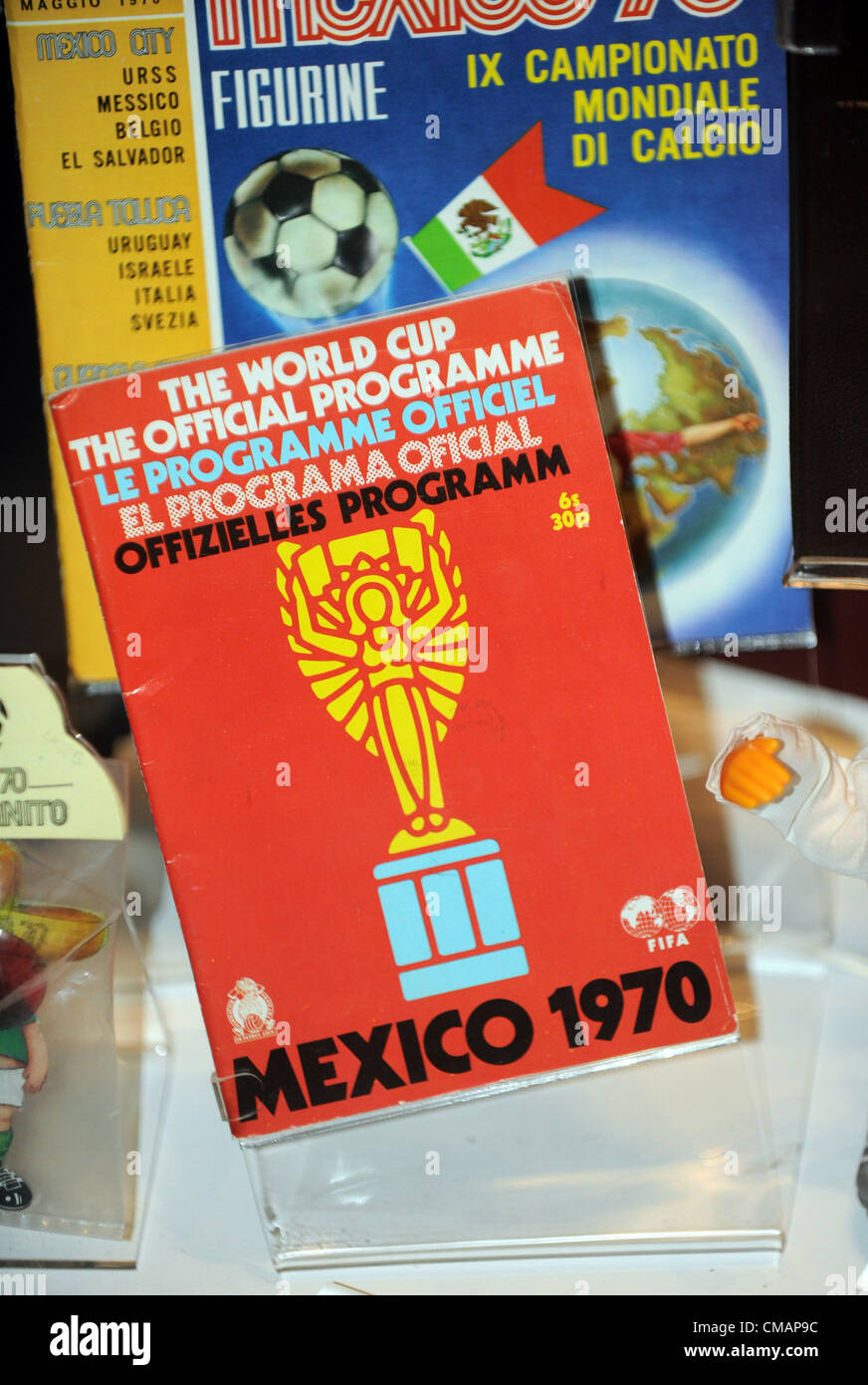 National Football Museum in Manchester, Britain, UK, Mexico 1970 programme - Stock Image