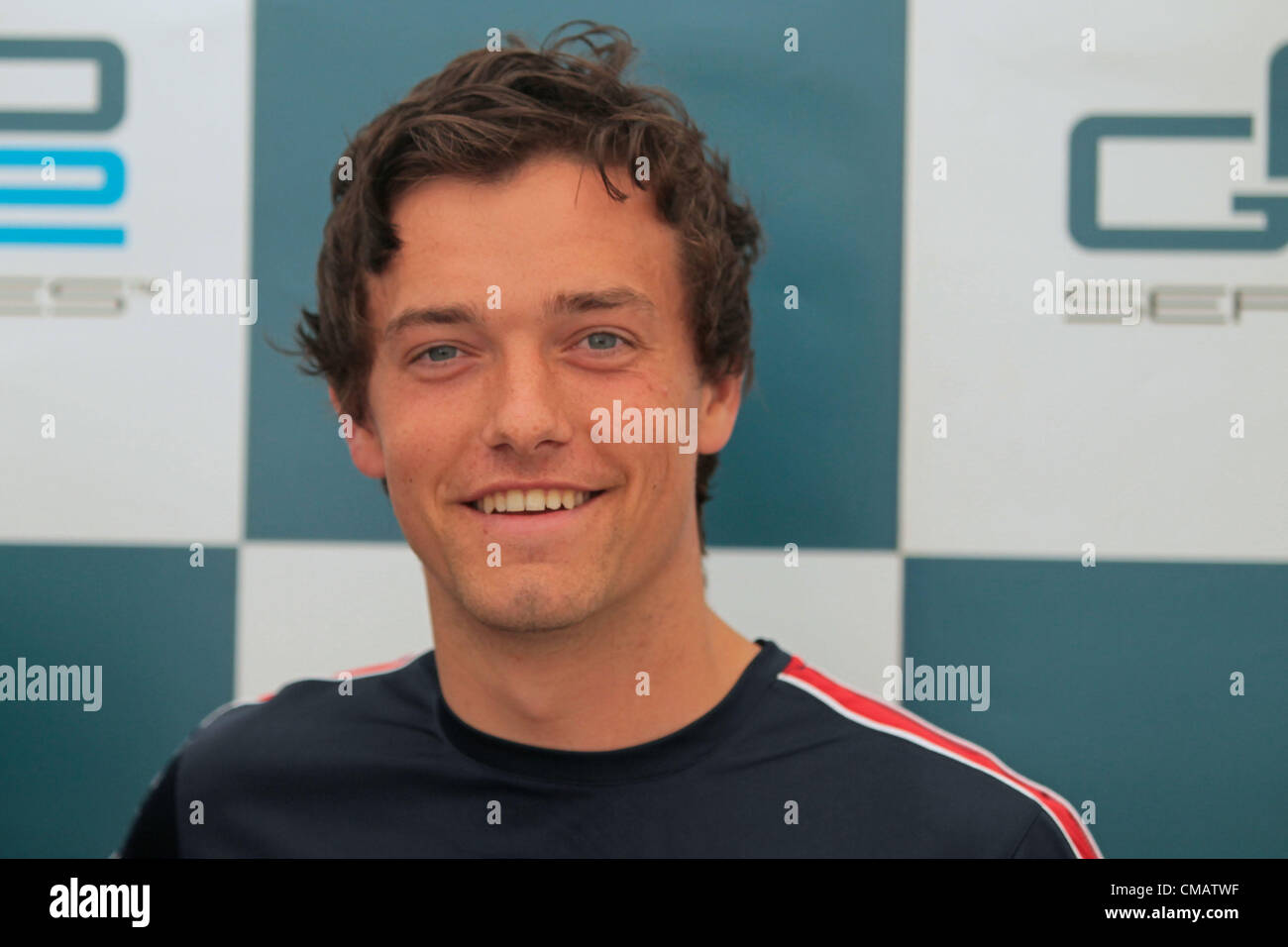 06.07.2012. Silverston, Northants, England.  Jolyon Palmer during press conference  GP2 cars qualification day. - Stock Image
