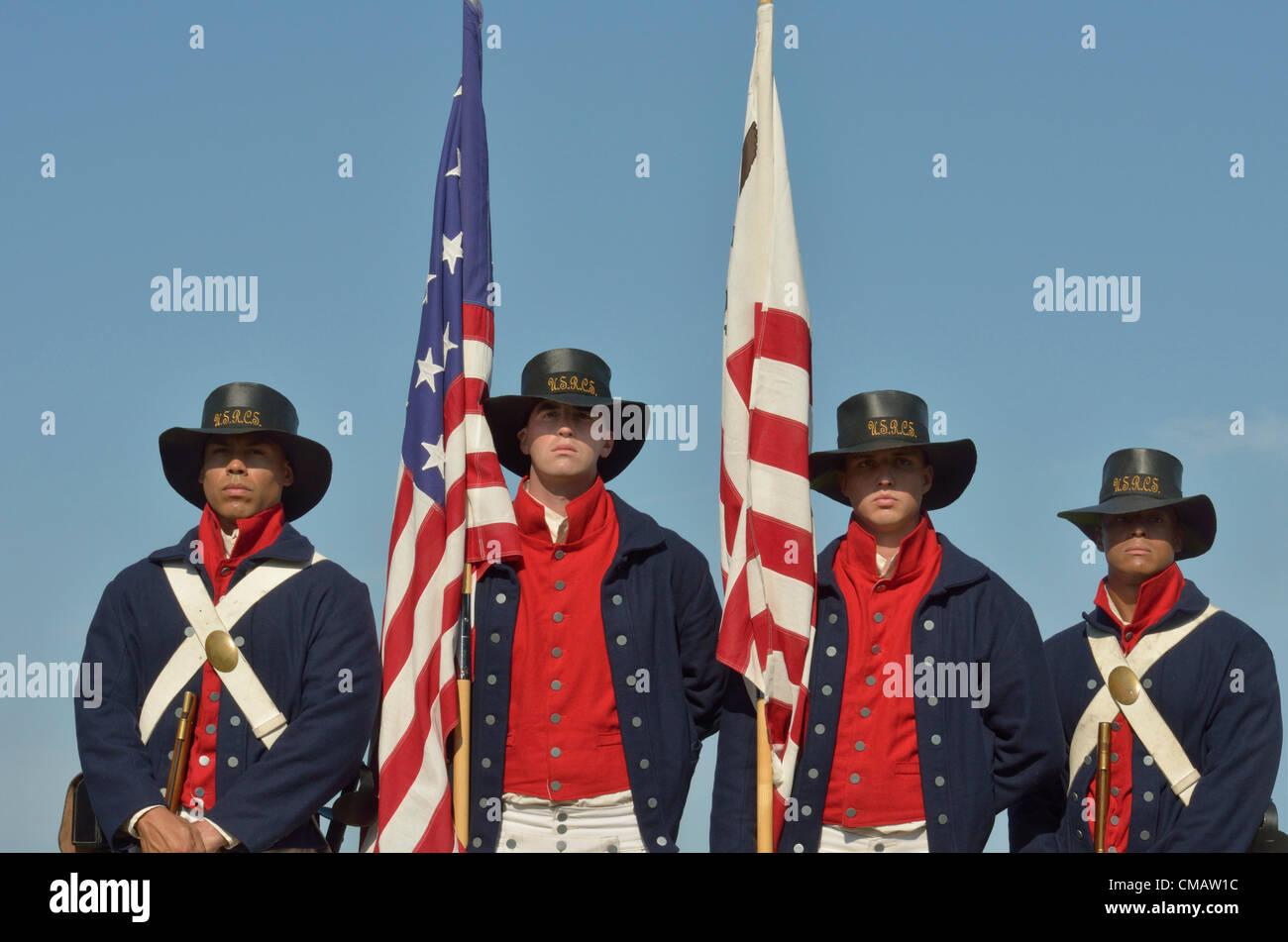 Niantic, Connecticut, July 6, 2012 - The honor guard from left to right: US Coast Guard Seaman Azaert Rivera, Seaman - Stock Image
