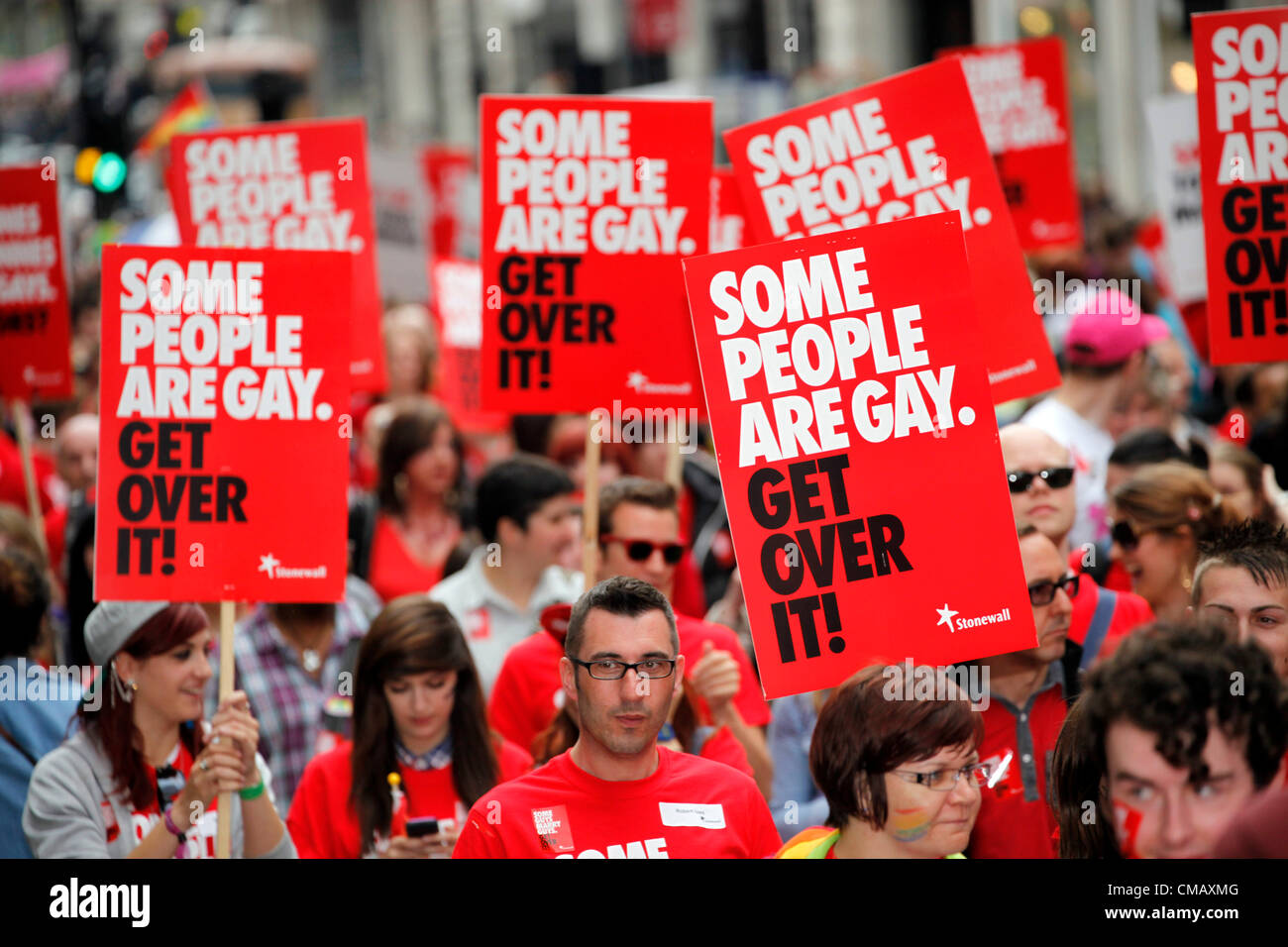London, UK. 7th July 2012. Members of Stonewall marching in World Pride 2012, London, England - Stock Image