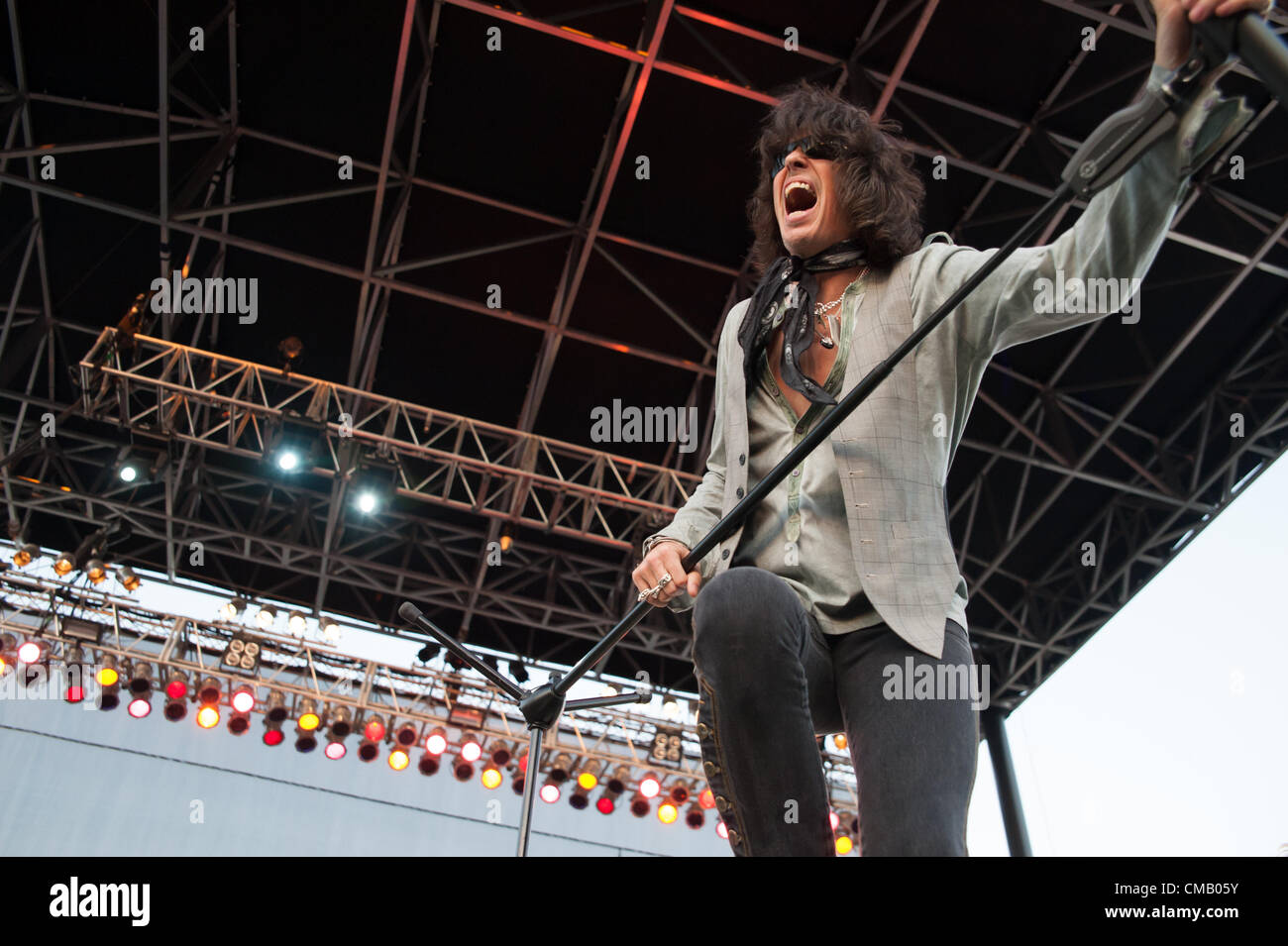 LINCOLN, CA - July 6: Kelly Hansen with Foreigner performs at Thunder Valley Casino Resort in Lincoln, California - Stock Image