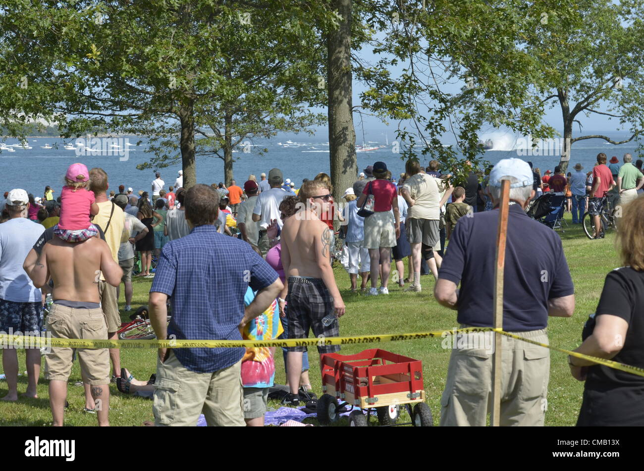 Niantic, Connecticut, July 6, 2012 - Crowds gather at McCook's Point Park for the  OpSail 2012 opening day festivities - Stock Image