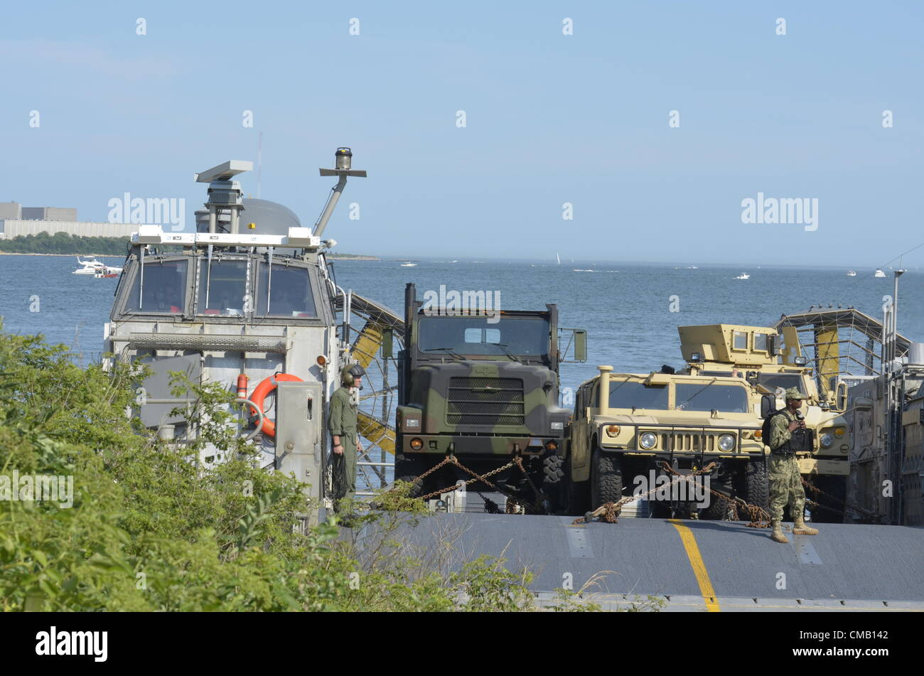 Niantic, Connecticut, July 6, 2012 - A United States Navy hovercraft LCAC (Landing Craft Air Cushioned) from the - Stock Image
