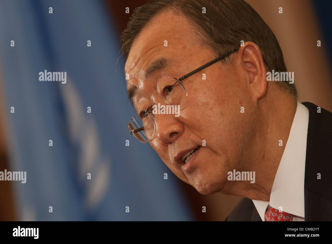 Ban Ki-moon, 8th Secretary-General  of the United Nations, at a press conference after summit on Afghanistan, in Stock Photo