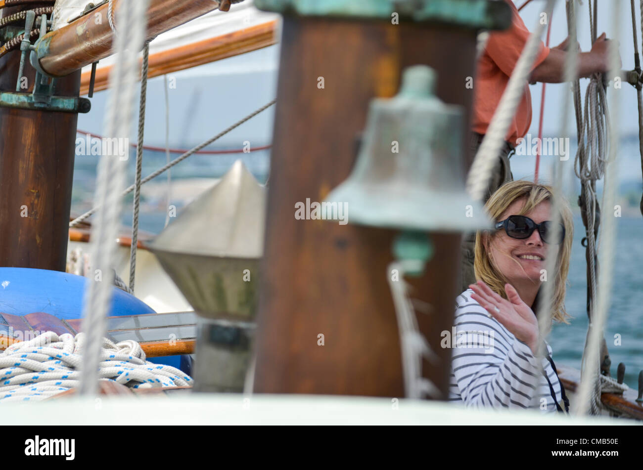 The Honorable Heather Somer, Mayor of Groton, Connecticut aboard the tall ship Schooner Tyrone during the Parade - Stock Image