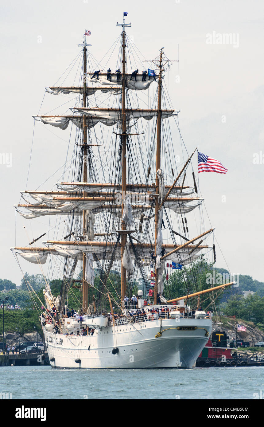 New London, Connecticut, USA - July 7, 2012: The US Coast Guard tall ship Eagle lands at Fort Trumbull. Cadets high - Stock Image