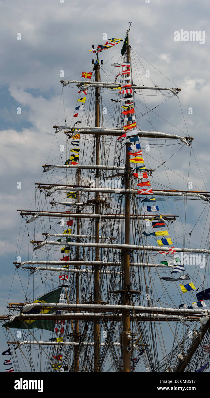 The tall ship Cisne Branco, which means White Swan in Portugese, at anchor in New London, Connecticut at Fort Trumbull - Stock Image