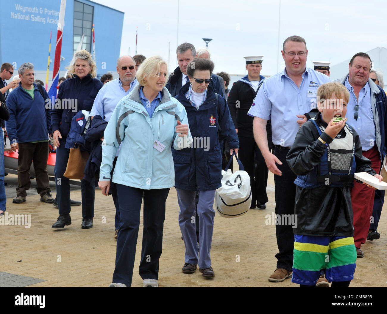 Princess Anne attending a schools regatta at the Weymouth and Portland National Sailing Academy, Dorset. Britain. - Stock Image