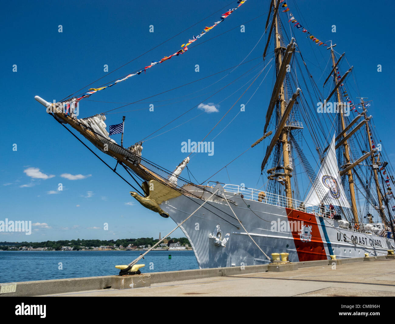 New London, Connecticut, USA - July 9, 2012: The US Coast Guard training ship Eagle moored at Fort Trumbull on the - Stock Image
