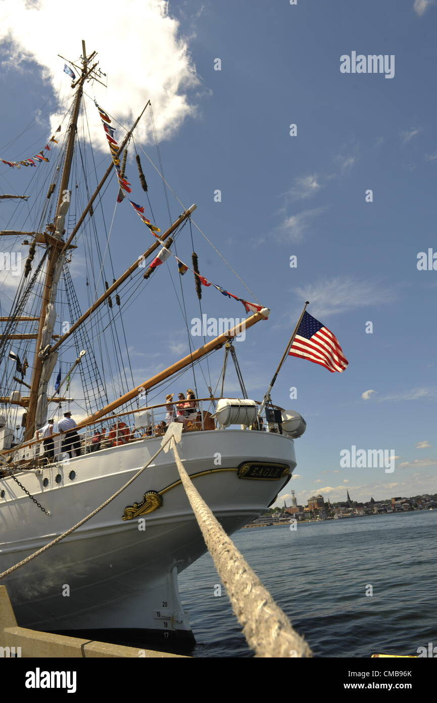 New London, Connecticut, USA - July 9, 2012: The stern of the US Coast Guard training ship Eagle with the American - Stock Image