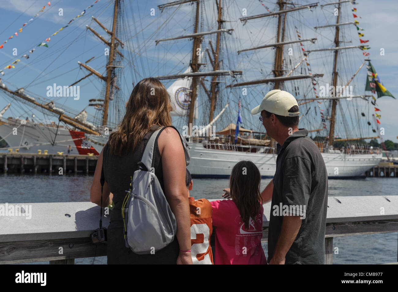 A family vacation in Connecticut. New London, CT, USA - July 9, 2012: With the tall ships due to sail from Fort - Stock Image