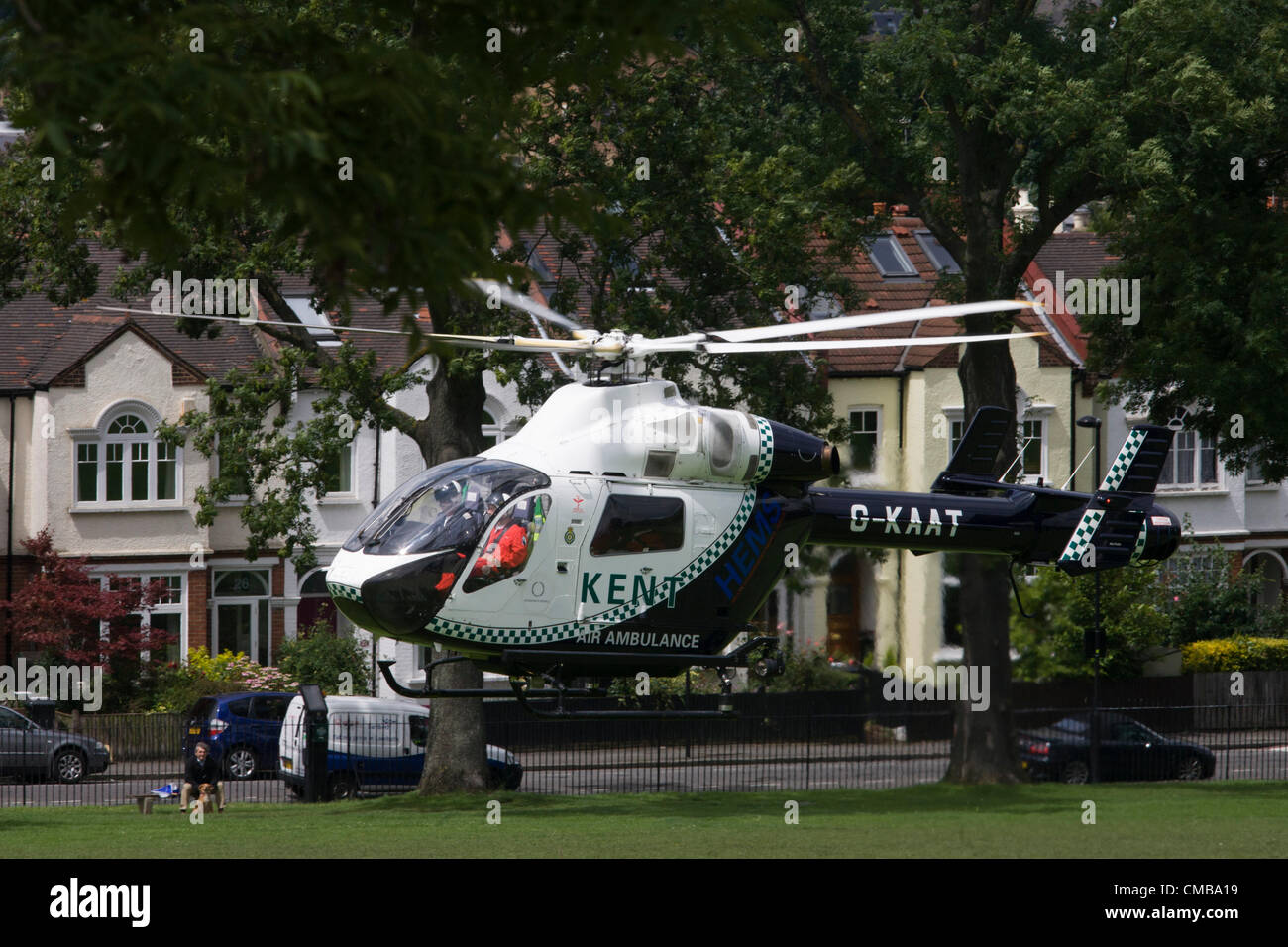 London 10/7/12. G-KAAT, a McDonnell Douglas MD-902 EXPLORER helicopter of the Kent Air Ambulance takes off over Stock Photo
