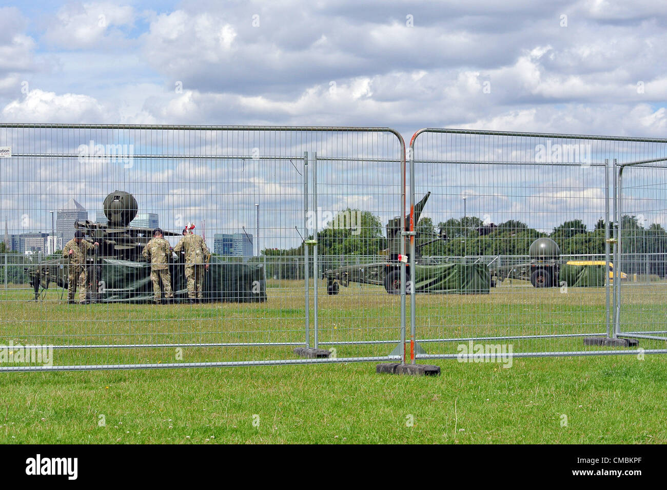 London, UK. 12th July 2012. Rapier missiles for the defence of the Olympic Games return to Blackheath Common and - Stock Image