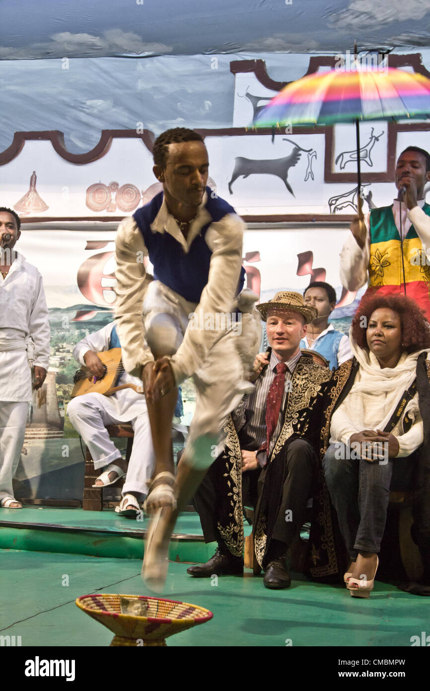 ADDIS ABABA, ETHIOPIA – JULY 11: Dancers and musicians perform the traditional dances of different ethnic groups Stock Photo
