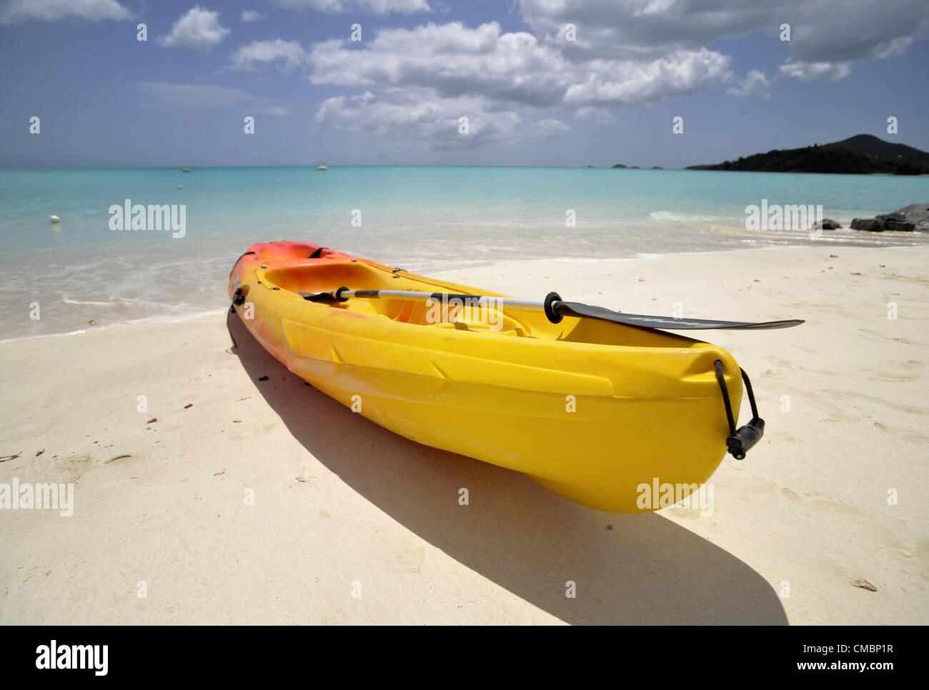 June 19, 2012 - Jolly Beach, Antigua, U.S. - A kayak sits ready for action on Jolly Beach on the Caribbean island - Stock Image