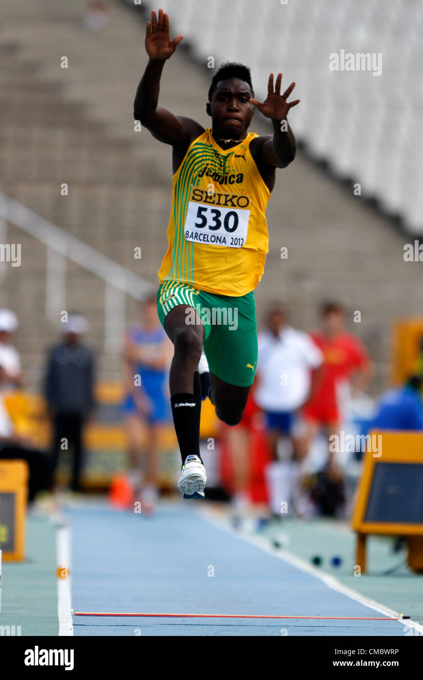 13.07.2012 Barcelona, Spain. Triple Jump for men Clive PULLEN  in action during day four of the IAAF World Junior - Stock Image