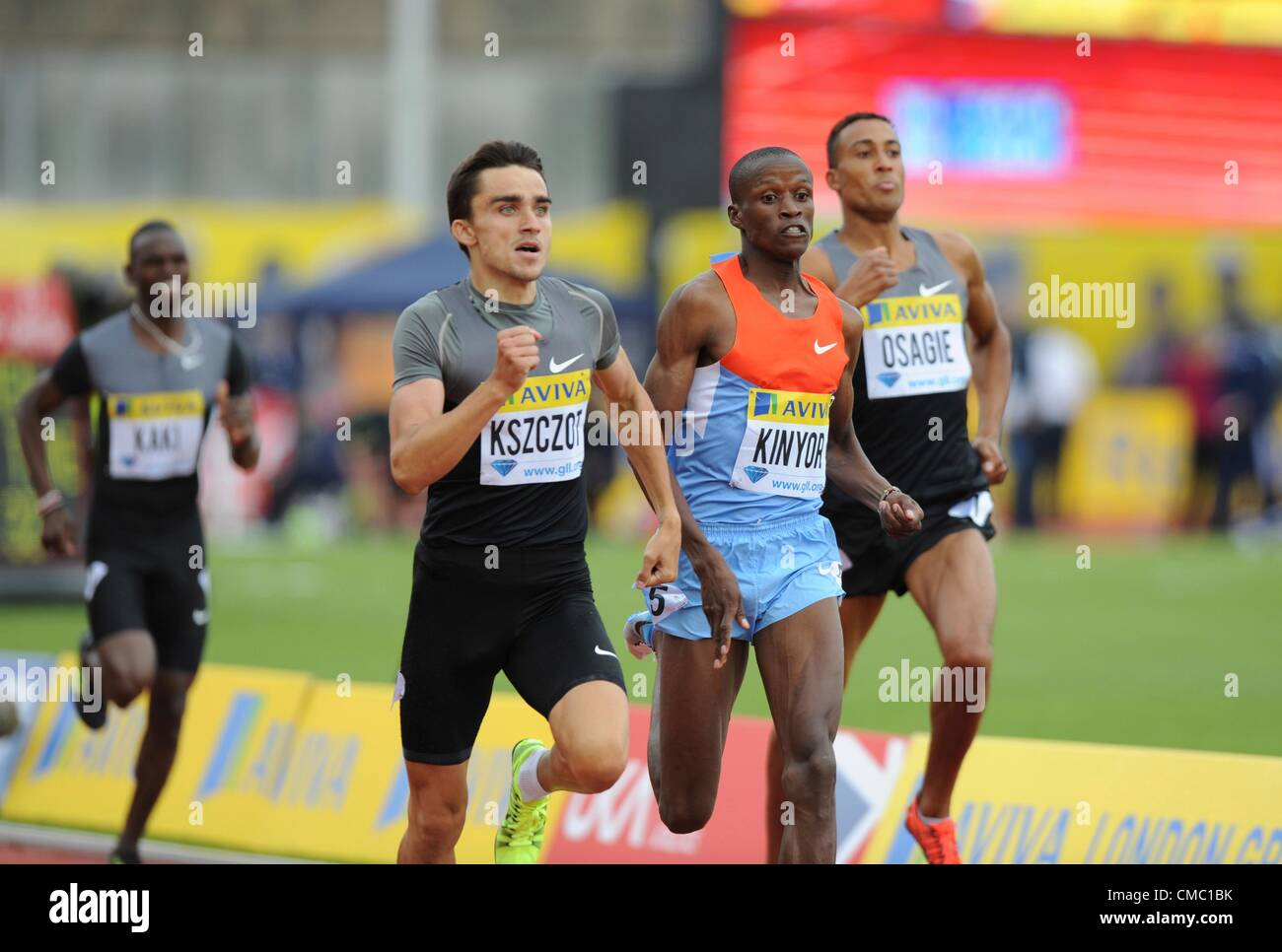 14.07.2012 Crystal Palace, London ENGLAND. , Mens 800m Final, Adam Kszczot, Job Kinyor in action during the Aviva - Stock Image